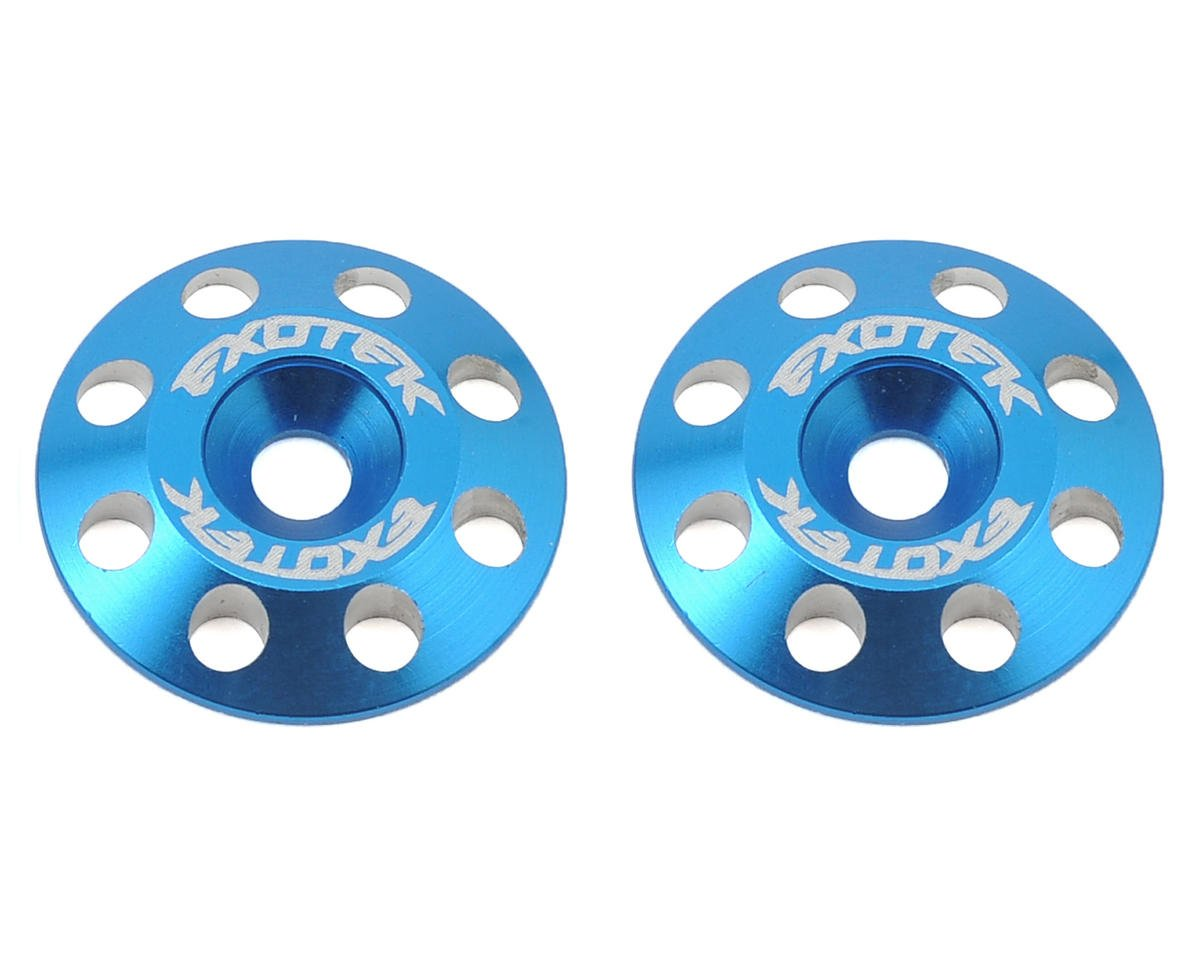 Exotek Racing Flite V2 16mm Aluminum Wing Buttons (2) (Blue) (XRAY XB2)