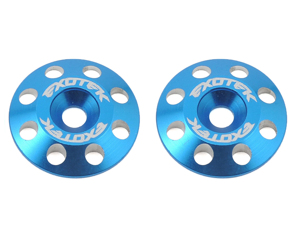Exotek Racing Flite V2 16mm Aluminum Wing Buttons (2) (Blue) (Schumacher Cougar KF2 SE)