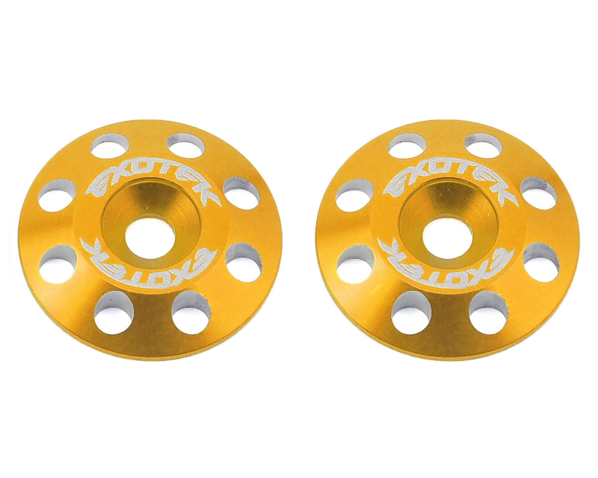 Exotek Racing Flite V2 16mm Aluminum Wing Buttons (2) (Gold) (Schumacher CAT K2)