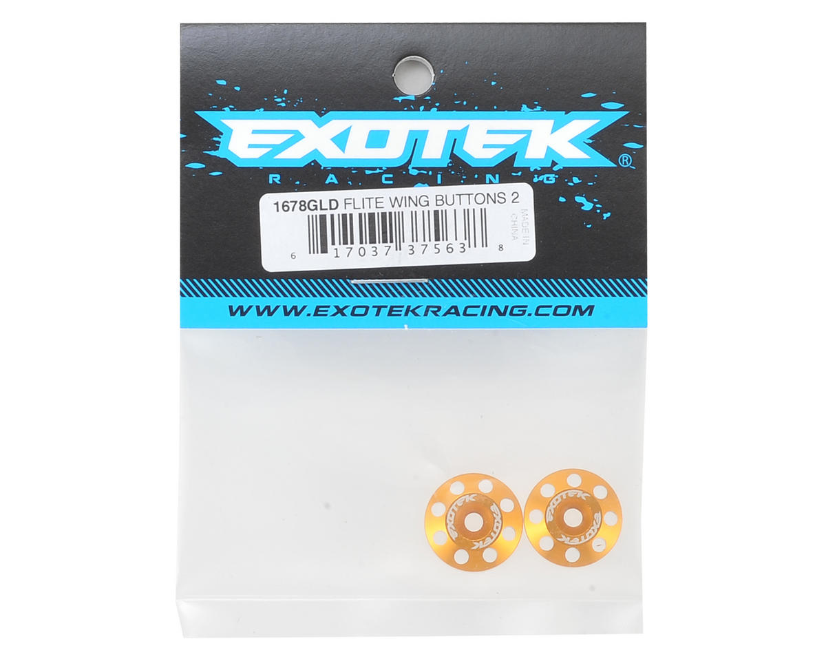 Exotek Racing Flite V2 16mm Aluminum Wing Buttons (2) (Gold)