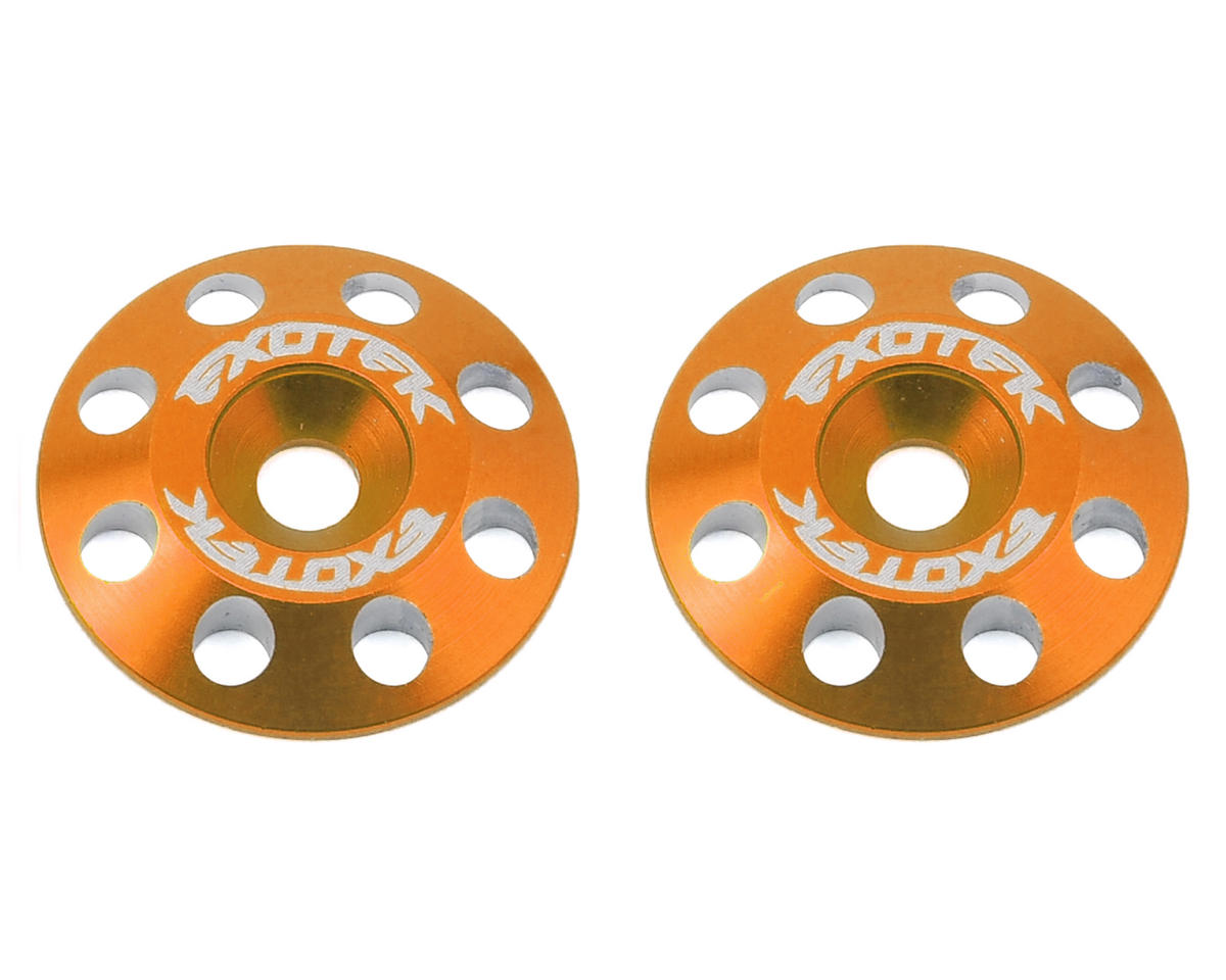 Exotek Racing Flite V2 16mm Aluminum Wing Buttons (2) (Orange) (Schumacher Cougar KF2)