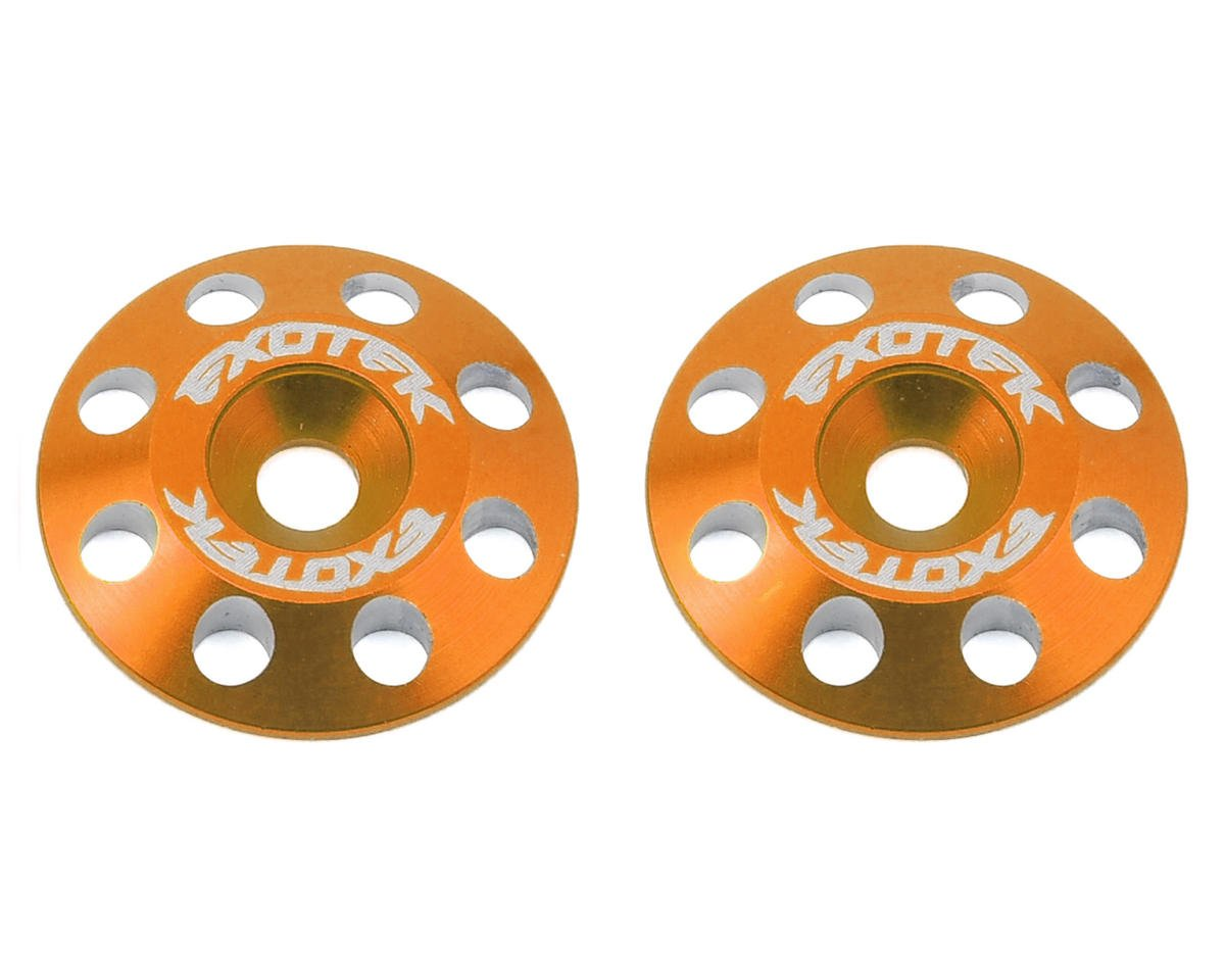 Exotek Racing Flite V2 16mm Aluminum Wing Buttons (2) (Orange) (Schumacher Cougar KF2 SE)