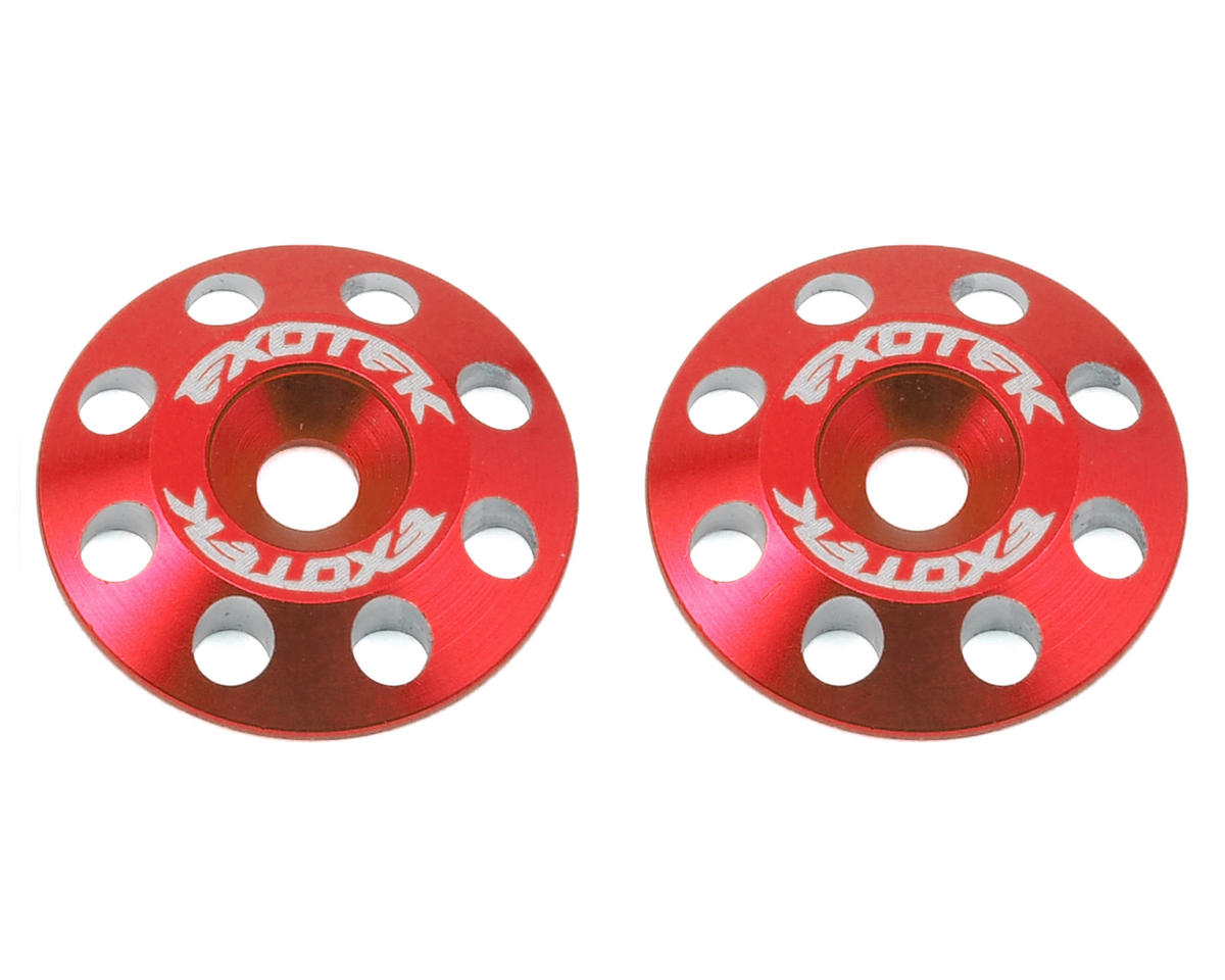 Exotek Racing Flite V2 16mm Aluminum Wing Buttons (2) (Red) (Schumacher Cougar KF2 SE)