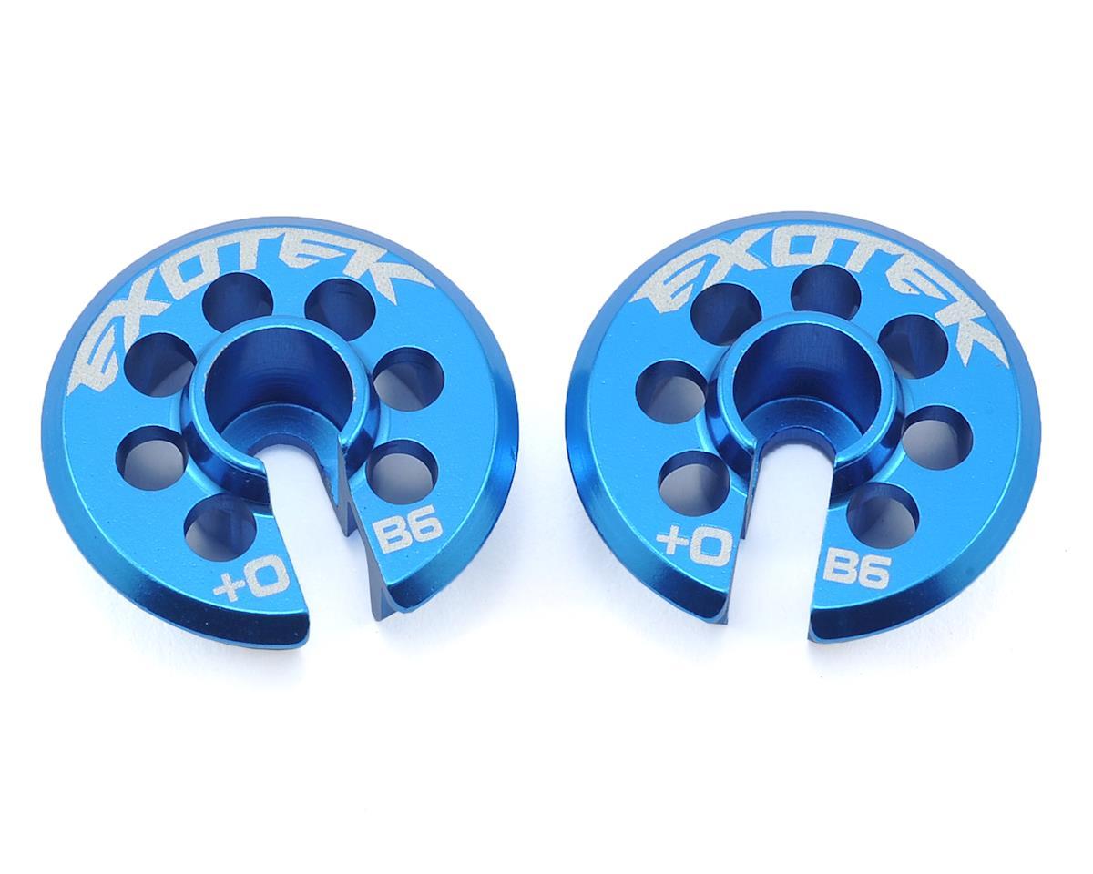 Exotek Racing +0 Aluminum B6 Spring Cup Set (Blue) (2)