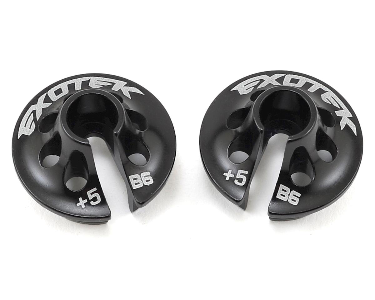 Exotek Racing +5 Aluminum B6 Spring Cup Set (Black) (2)