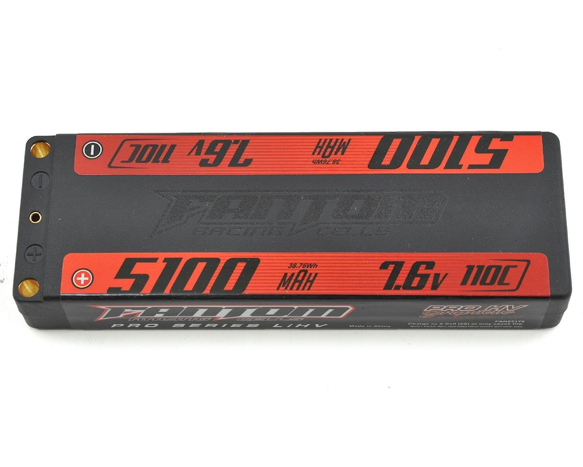 Fantom Pro Series HV Low Profile TC 2S LiPo 110C Battery (7.6V/5100mAh)