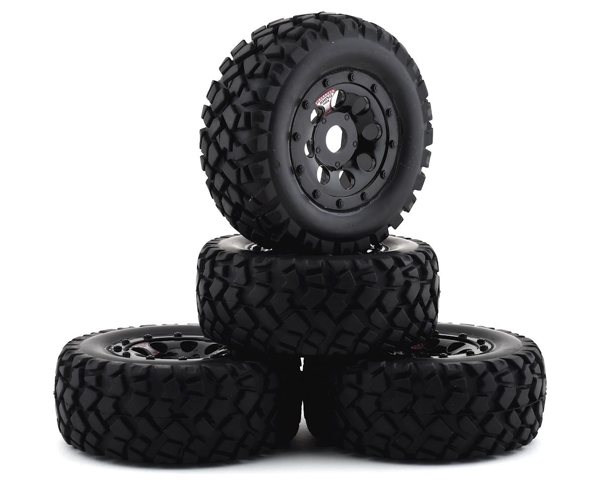 Firebrand RC Rhino HDX 1/8 Pre-Mounted Truck Tires (4) (Black) (Traxxas Slash 4x4)