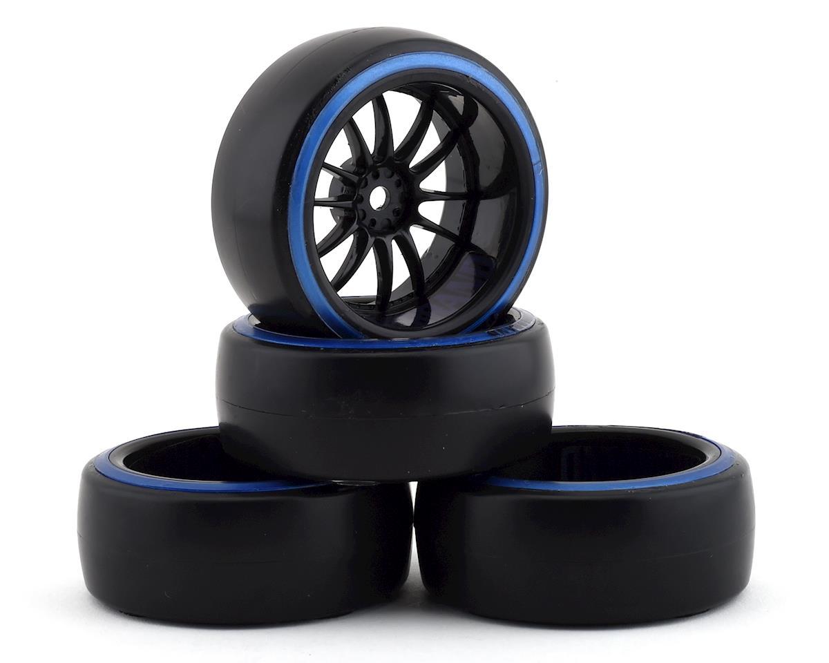 Firebrand RC Char D29B Pre-Mounted 2-Piece Slick Drift Tires (4) (Black/Blue)