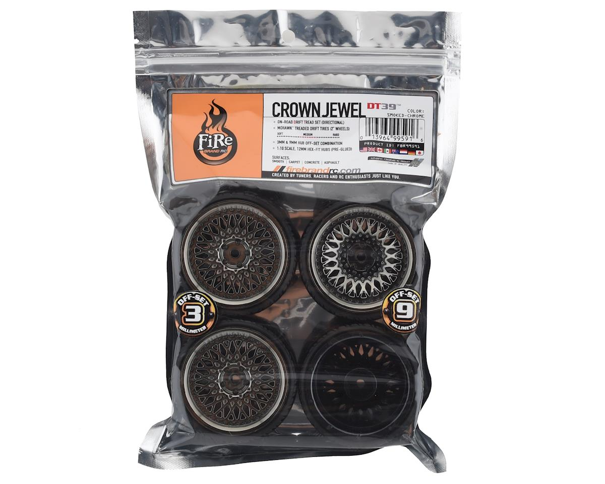 Firebrand RC Crownjewel DT39 Pre-Mounted Drift Tires (4) (Smoke Chrome)