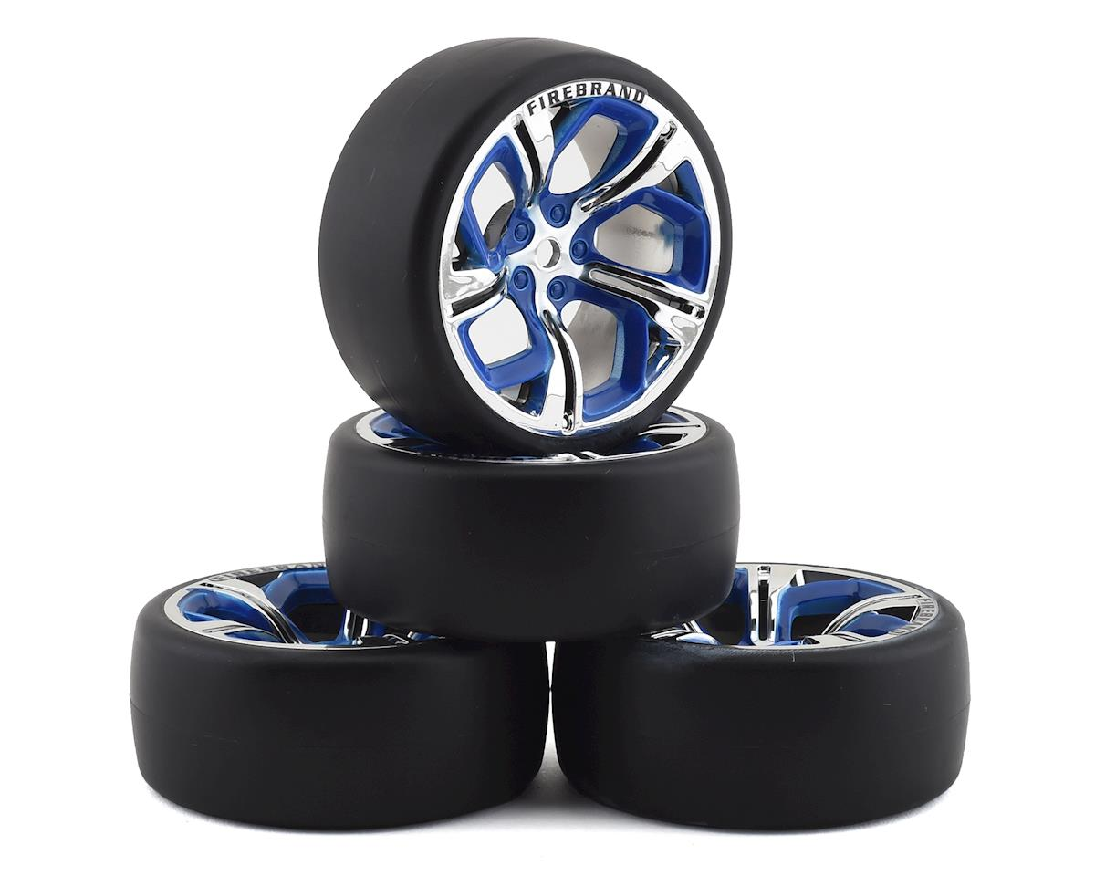 Firebrand RC Hydra DSR3 Pre-Mounted Slick Drift Tires (4) (Blue/Chrome)