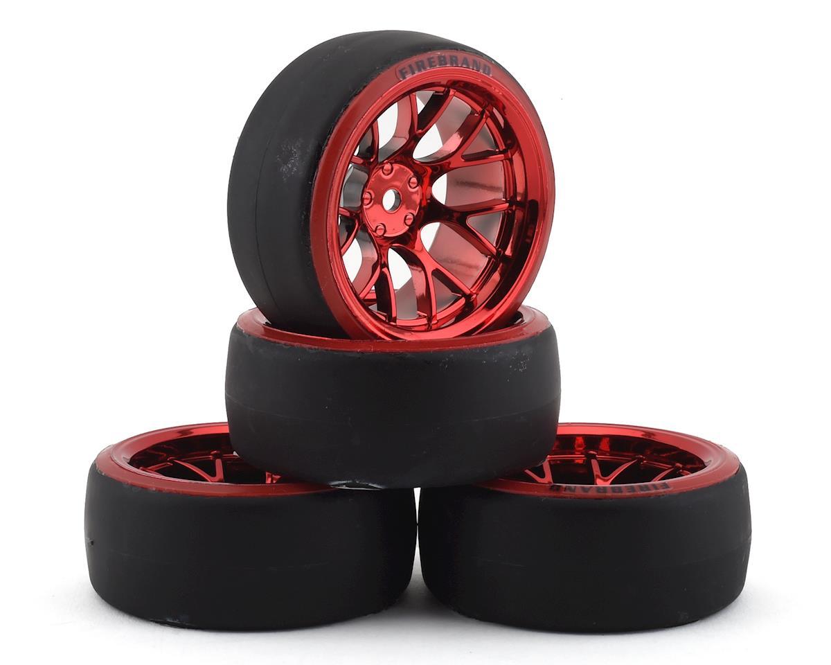 Firebrand RC Hypernova D29 Pre-Mounted Slick Drift Tires (4) (Red Chrome)