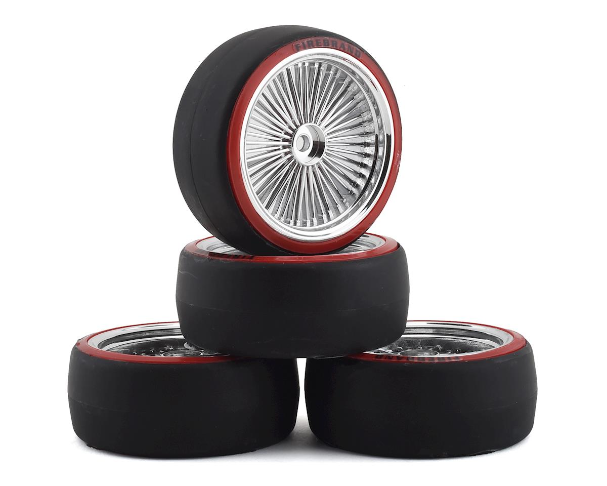 Firebrand RC OG D2 Pre-Mounted Slick Drift Tires (4) (Chrome/Red)