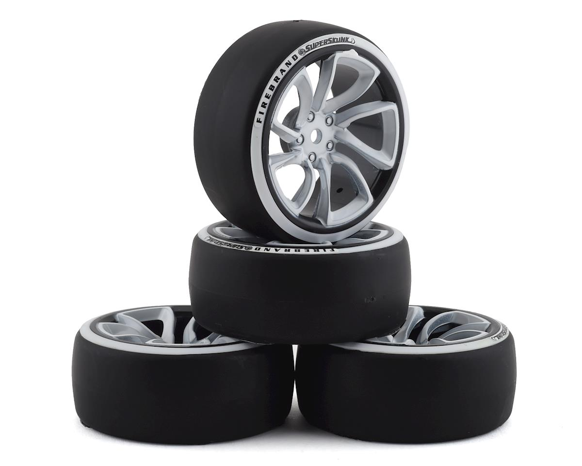 Firebrand RC Superskunk D2 Pre-Mounted Slick Drift Tires (4) (White/Black)