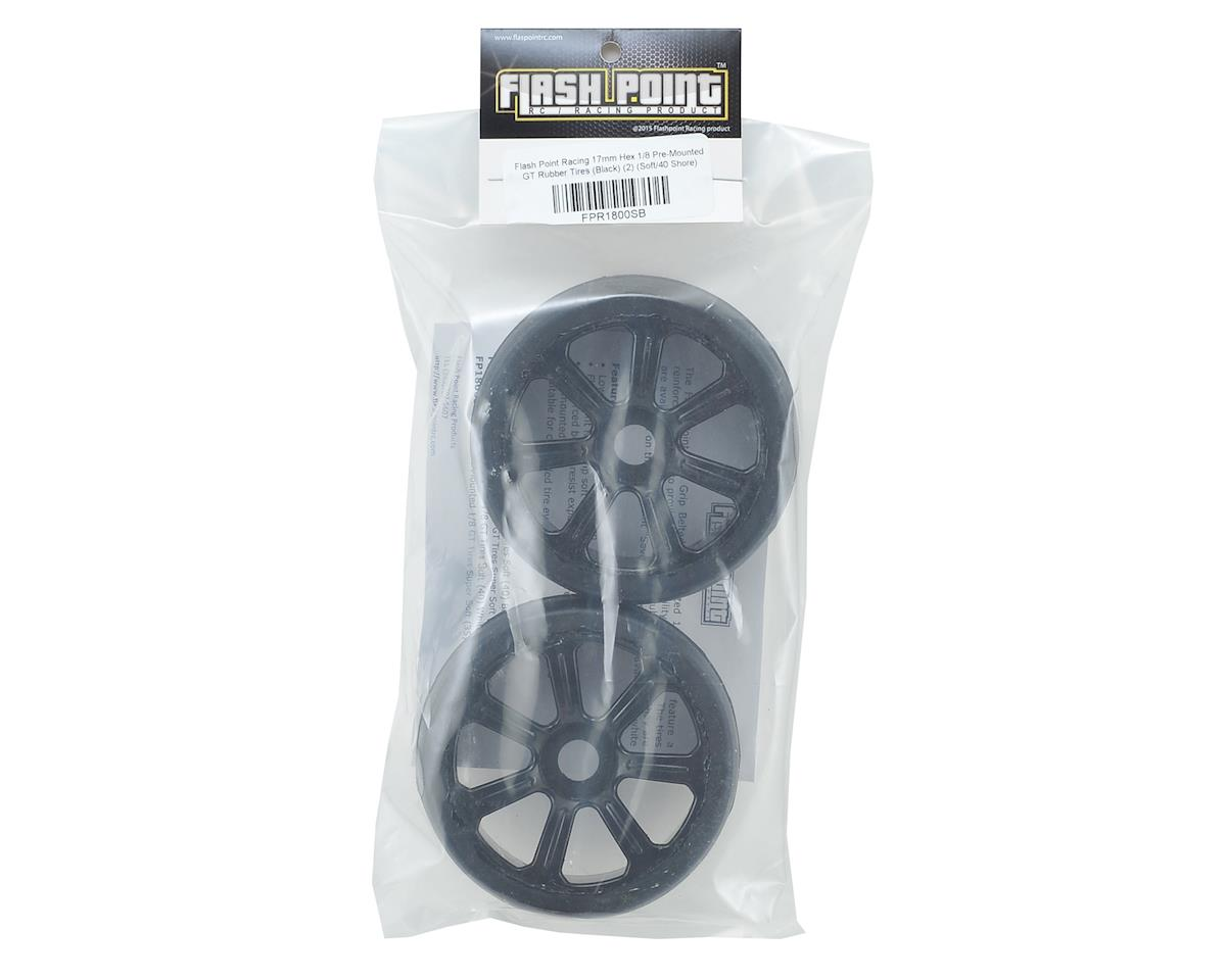 Flash Point 17mm 1/8 Premounted GT Belted Rubber Tires (Black) (2) (Soft)