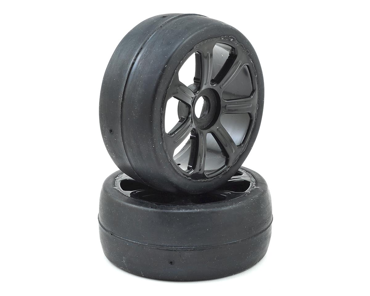 17mm Hex 1/8 Pre-Mounted GT Belted Rubber Tires (Black) (2)