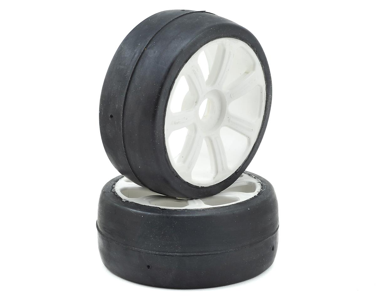 Flash Point Racing 17mm Hex 1/8 Pre-Mounted GT Belted Rubber Tires (White) (2) (Kyosho Inferno GT/GT2)