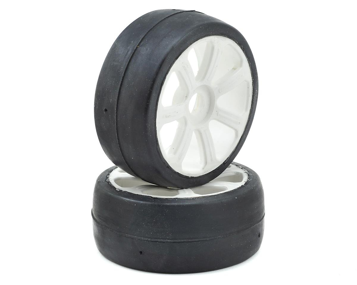 17mm Hex 1/8 Pre-Mounted GT Belted Rubber Tires (White) (2) by Flash Point