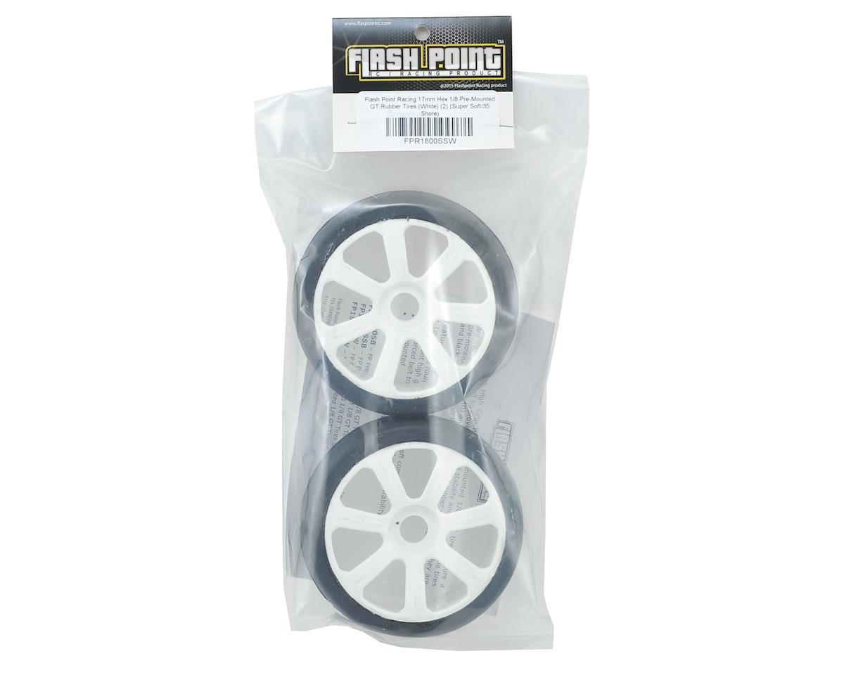 Flash Point Racing 17mm Hex 1/8 Pre-Mounted GT Belted Rubber Tires (White) (2) (Super Soft)