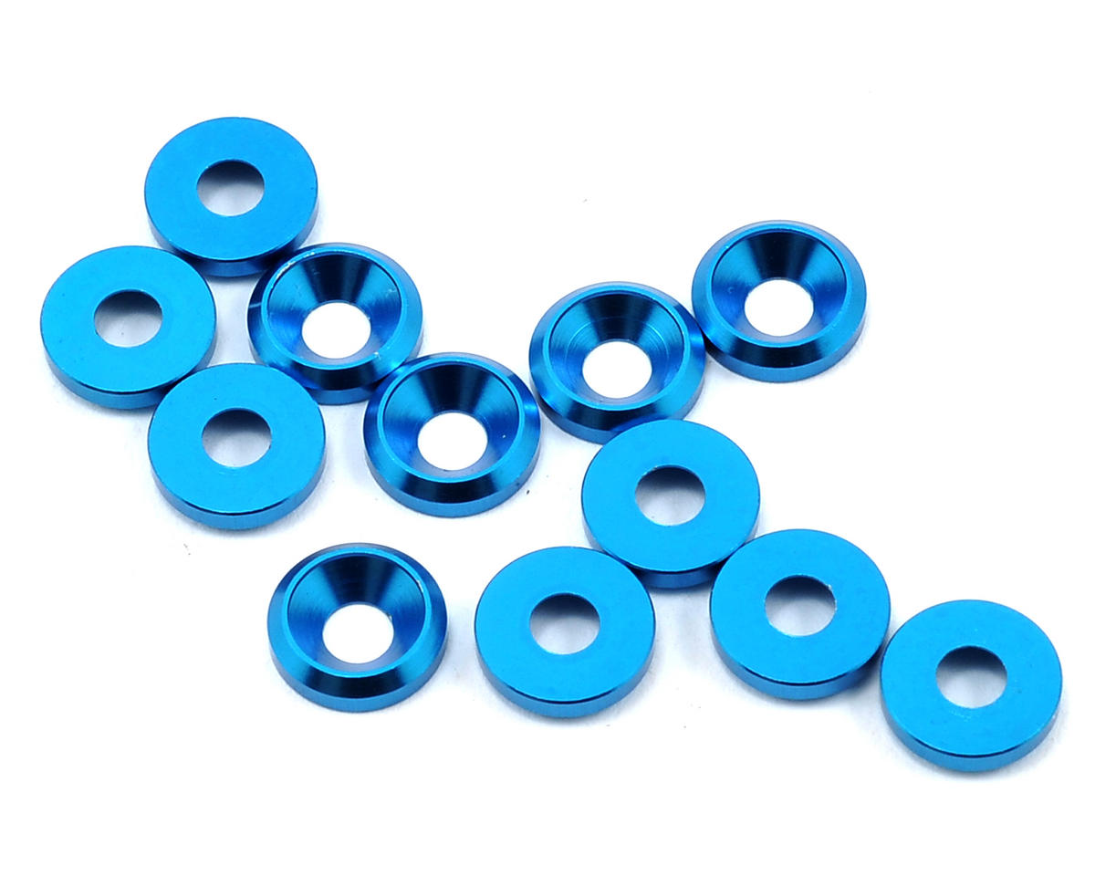 Flash Point Racing 3mm Countersunk Washer (Blue) (12)