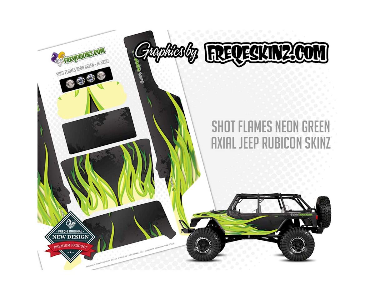 sKinz Flames Neon Green Design Axial Jeep Rubicon by Freqeskinz