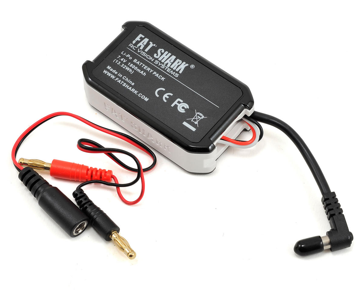 1.8A LiPo Battery Pack w/LED Indicator (7.4V/1800mAh) for FPV Goggles by FatShark