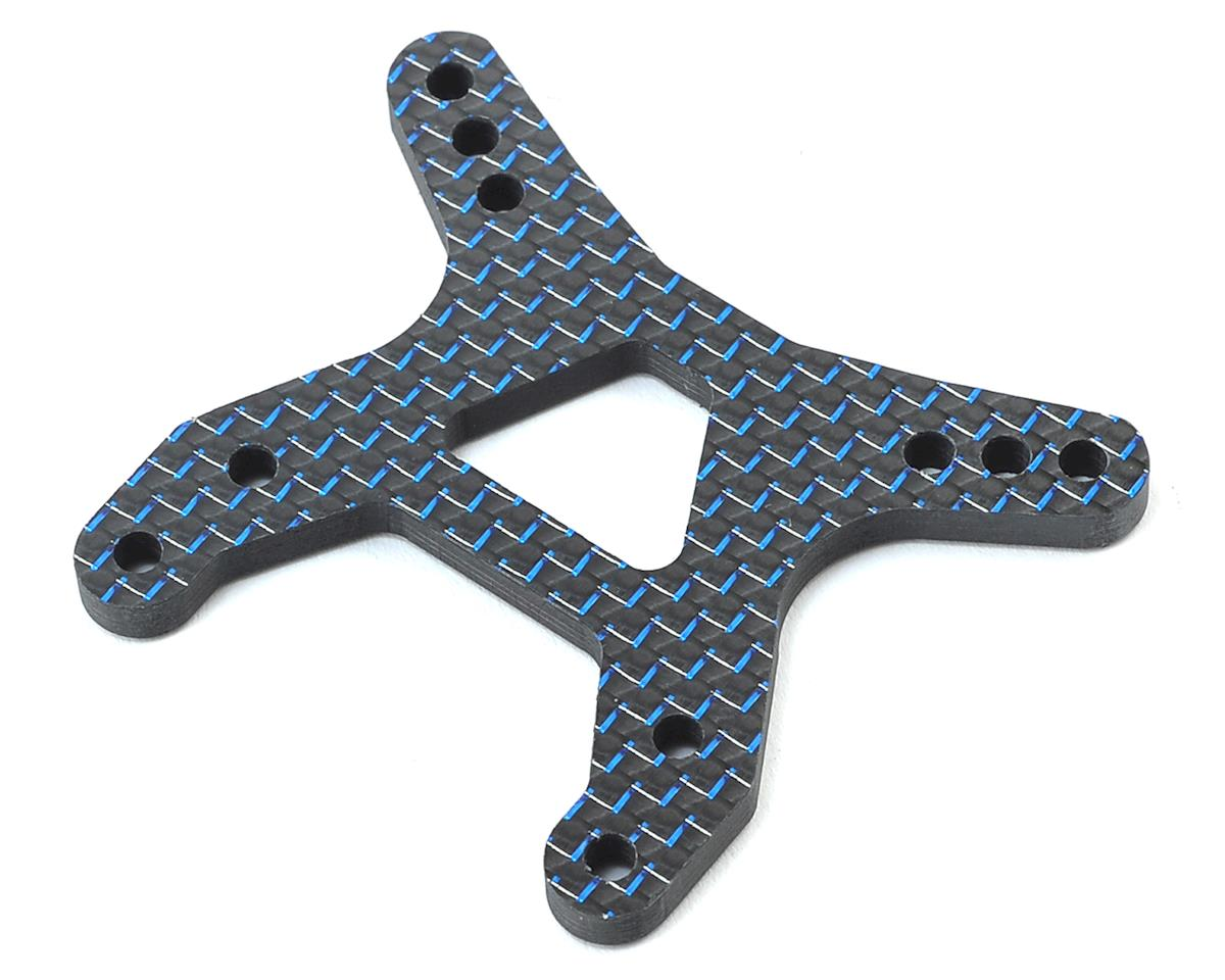"B6/B6D Carbon Fiber ""Flat"" Front Shock Tower (Blue) by Factory RC"