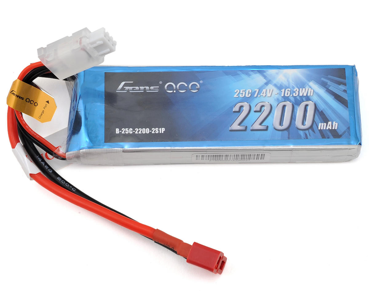 Gens Ace 2s LiPo RX Battery Pack 25C w/Deans (7.4V/2200mAh)