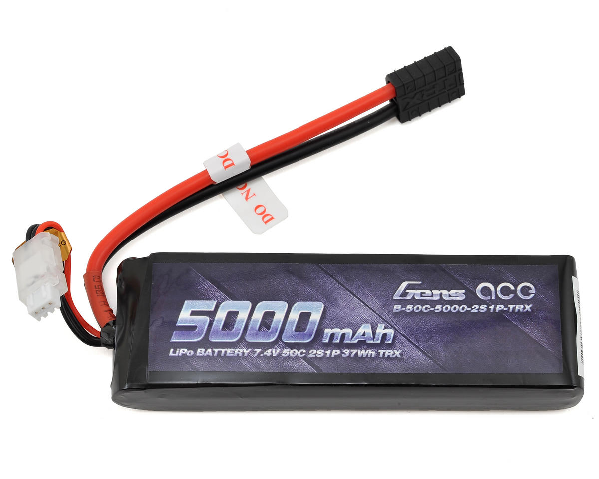 Gens Ace 2s LiPo Battery Pack 50C w/TRX Connector (7.4V/5000mAh)