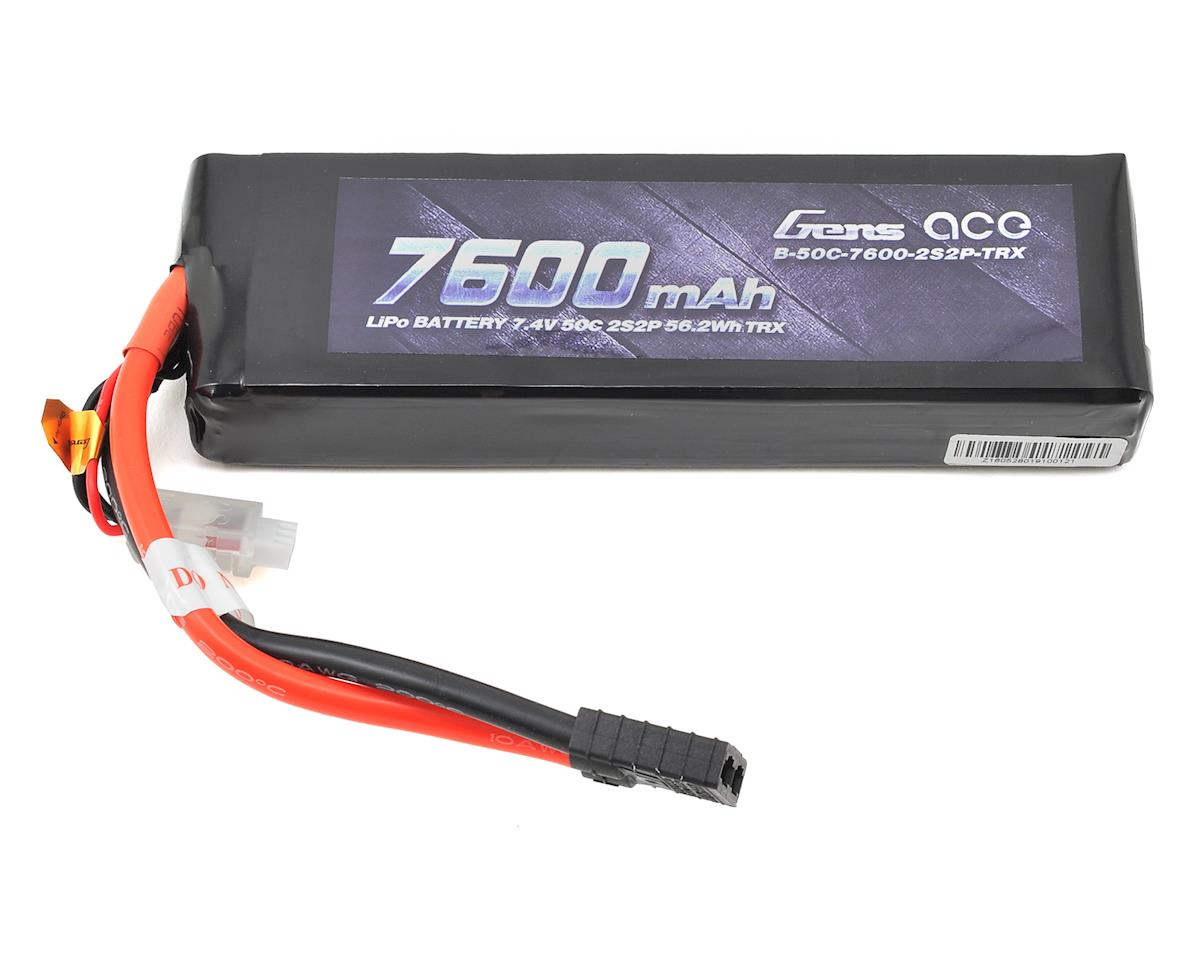 Gens Ace 2s LiPo Battery Pack 50C w/TRX Connector (7.4V/7600mAh) (Traxxas Slash)