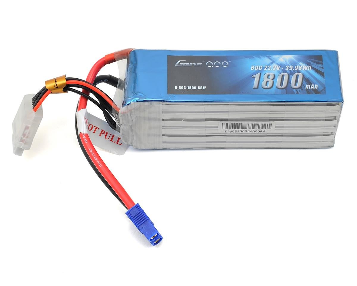 6s LiPo Battery Pack 60C w/EC3 (22.2V/1800mAh) by Gens Ace (Align T-Rex 470L)