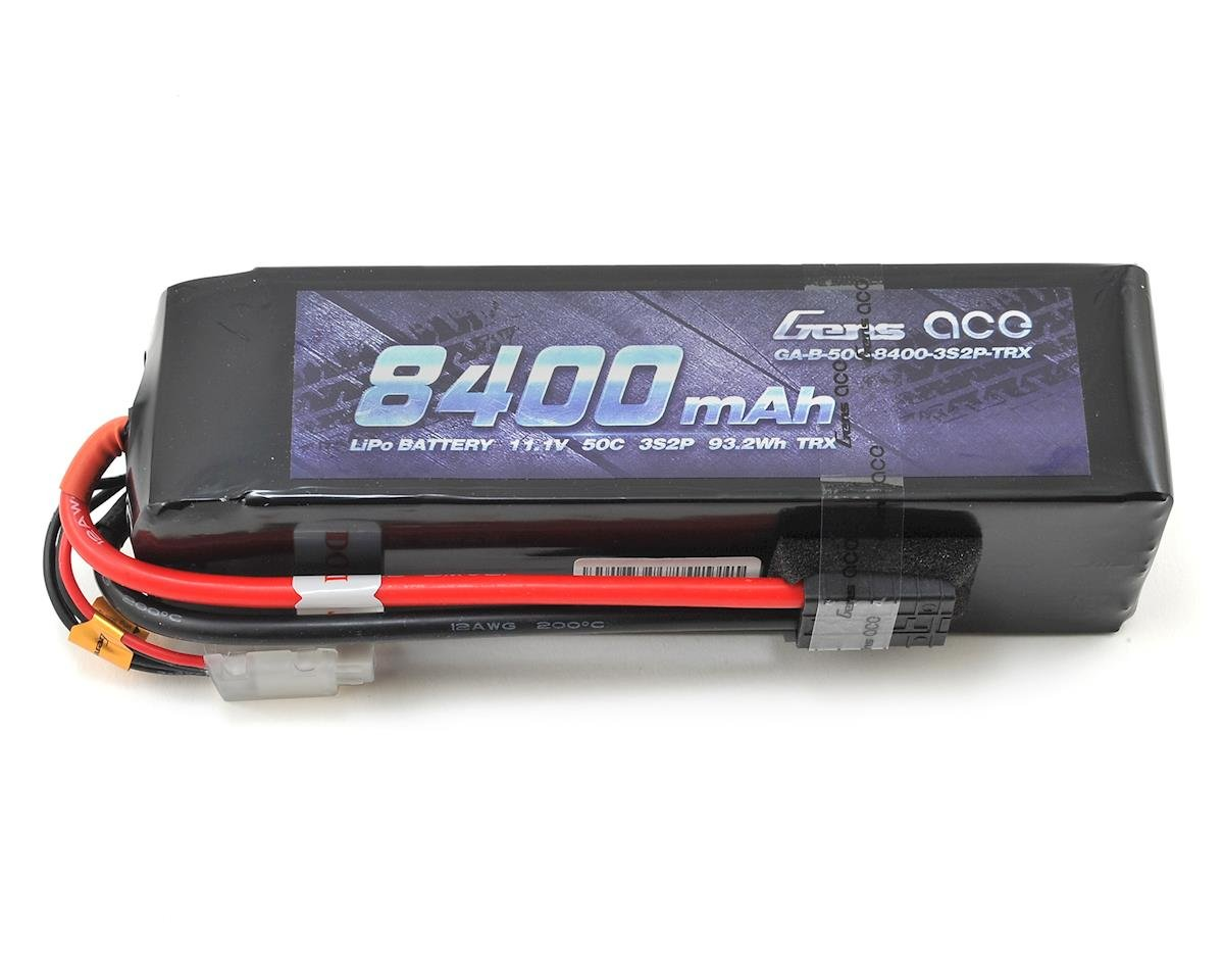 Gens Ace 3s LiPo Battery Pack 50C w/TRX Connector (11.1V/8400mAh)