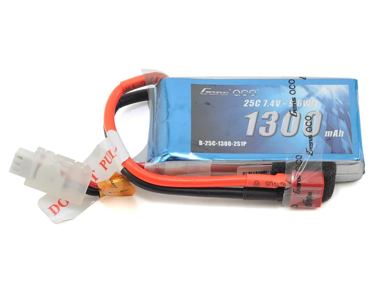 2s LiPo Battery Pack 25C w/Deans Connector (7.4V/1300mAh) by Gens Ace