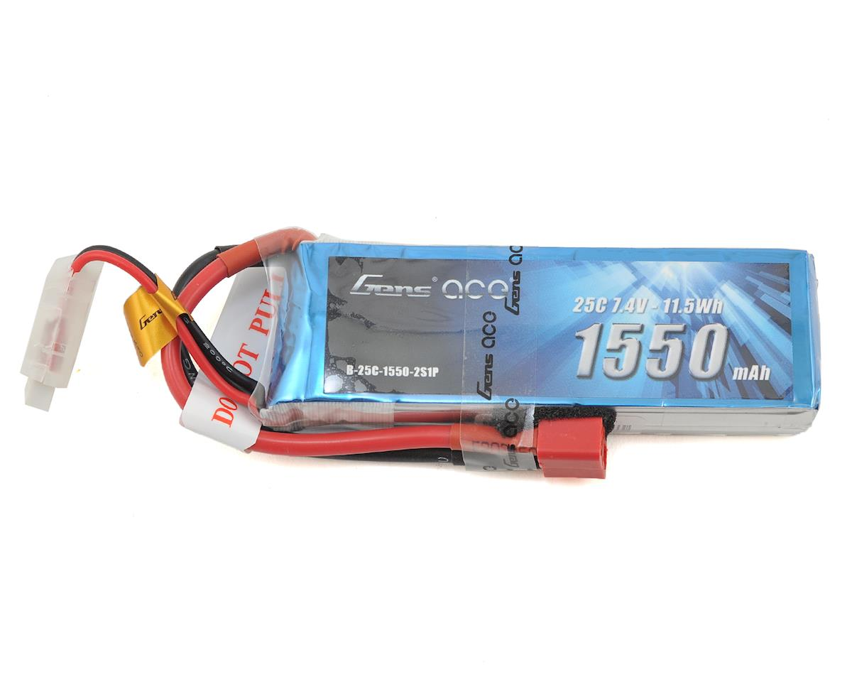 Gens Ace 2s LiPo Battery Pack 25C w/Deans Connector (7.4V/1550mAh)