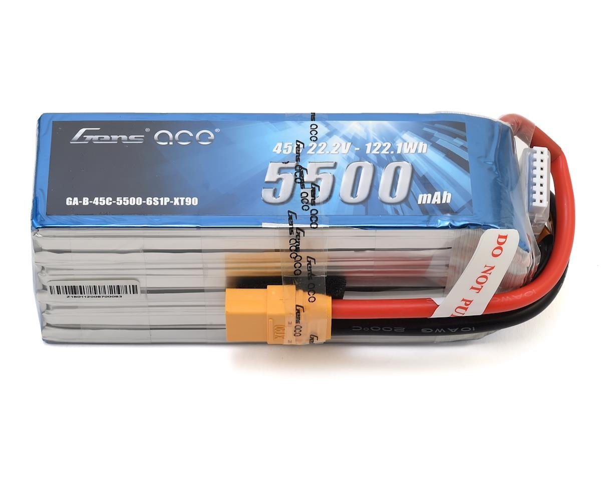 Gens Ace 6S Soft Case 45C LiPo Battery w/XT90 Connector (22.2V/5500mAh)
