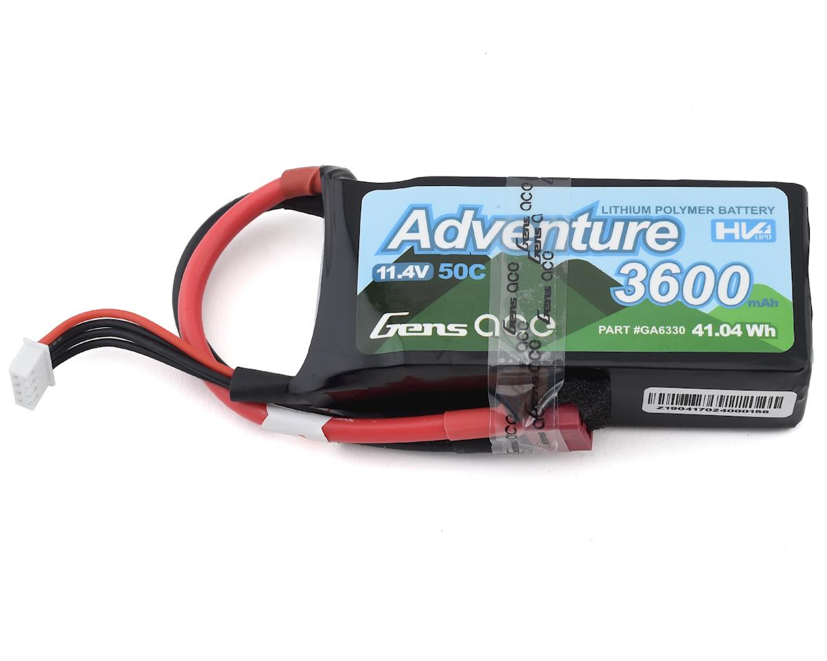 Gens Ace Adventure 3S 50C LiHV Battery Pack w/T-Style Connector (11.4V/3600mAh) (Vaterra Ascender)