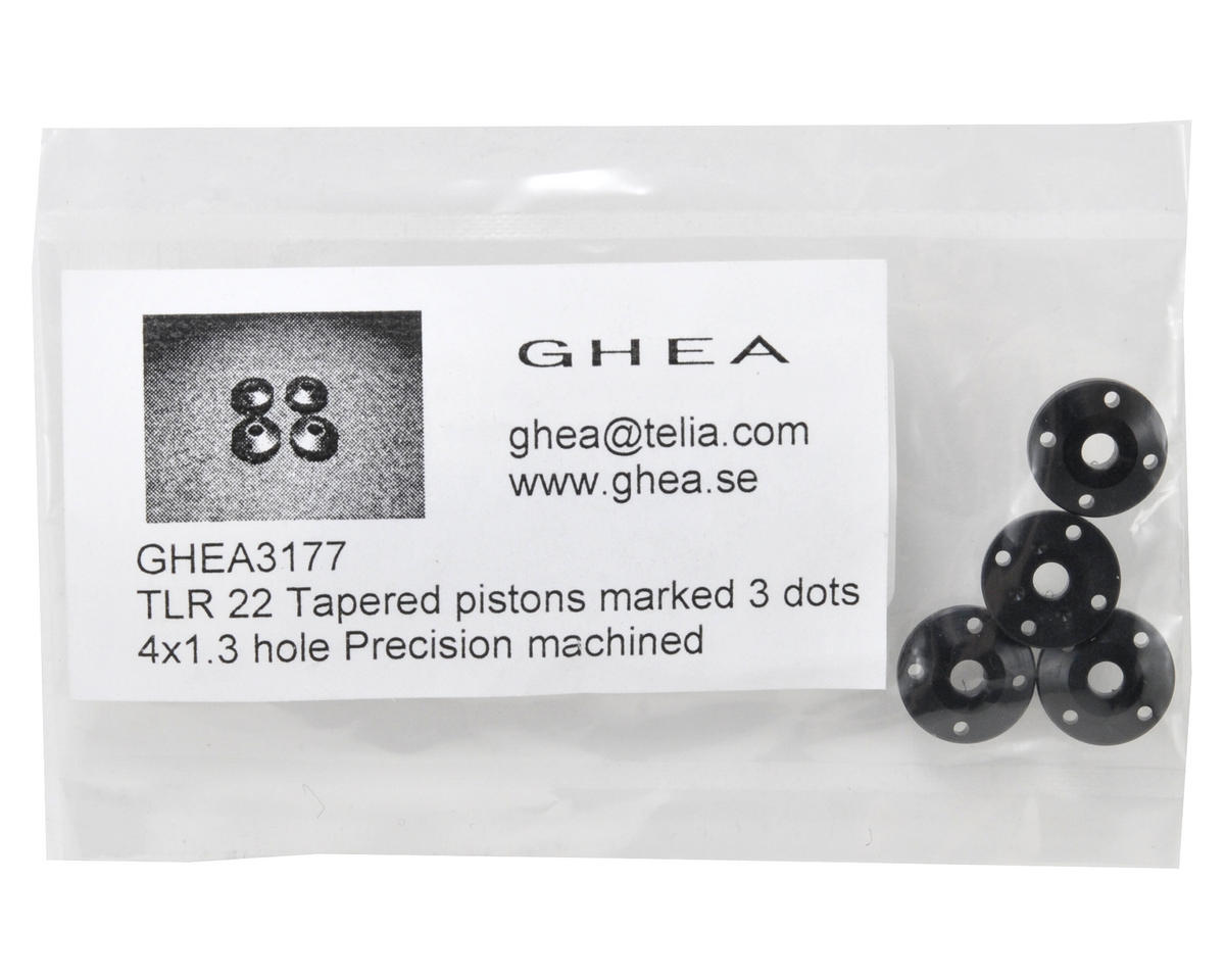 GHEA Racing Products TLR 22 12mm Delrin Tapered Shock Pistons (4) (4x1.3 Hole)