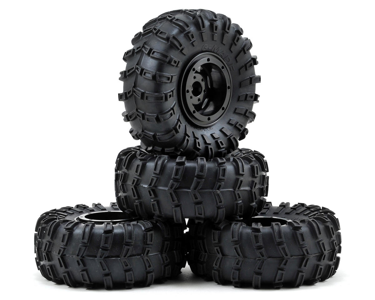 "Gmade G-Air 2.2"" Beadlock Rock Crawler Wheels w/Tires & Accessories (4) (Black) (GMade R1)"