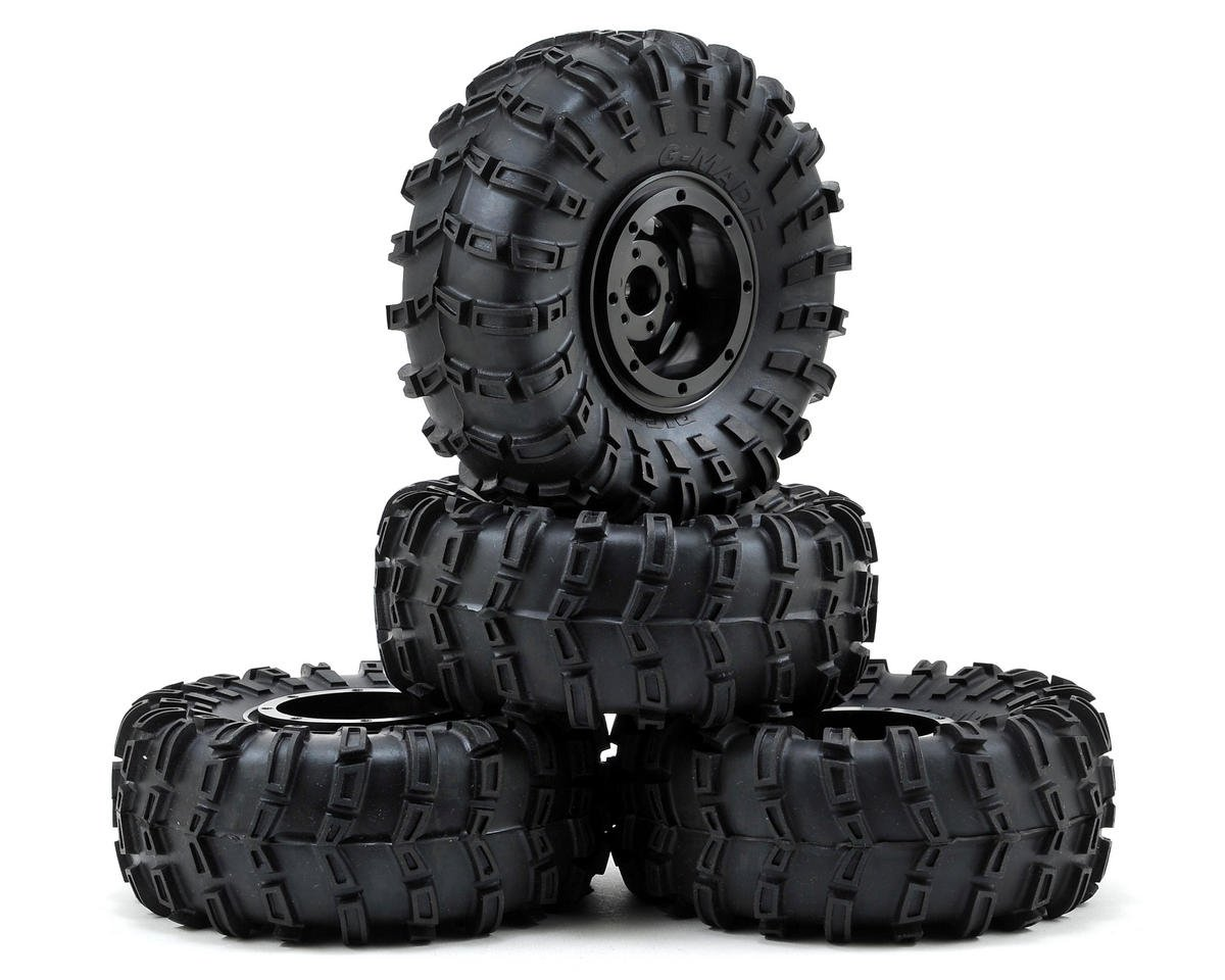 "G-Air 2.2"" Beadlock Rock Crawler Wheels w/Tires & Accessories (4) (Black) by Gmade"