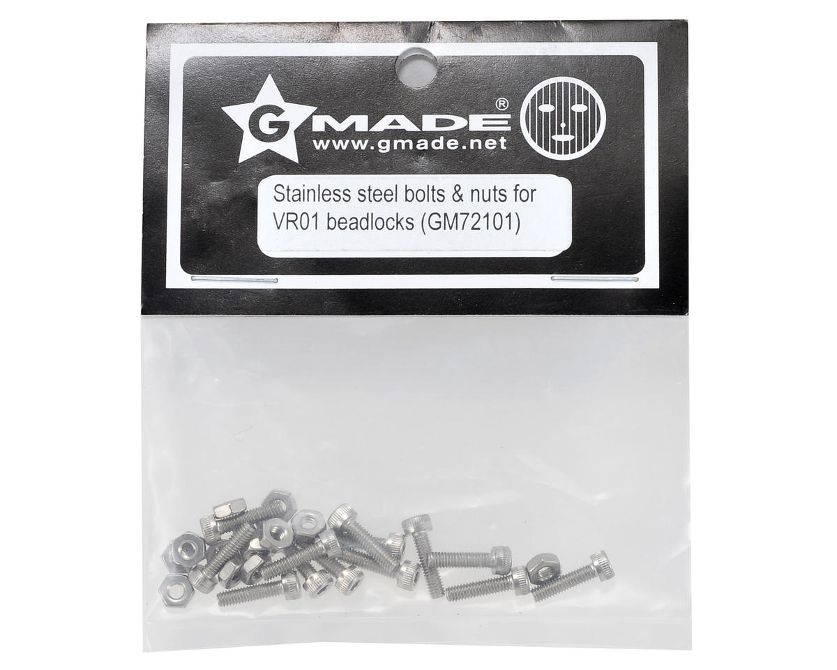 Stainless Steel VR01 Beadlock Hex Bolt & Nut Set (12) by Gmade