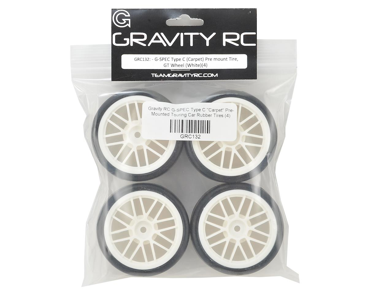 "G-SPEC Type C ""Carpet"" Pre-Mounted Touring Car Rubber Tires (4) by Gravity RC"