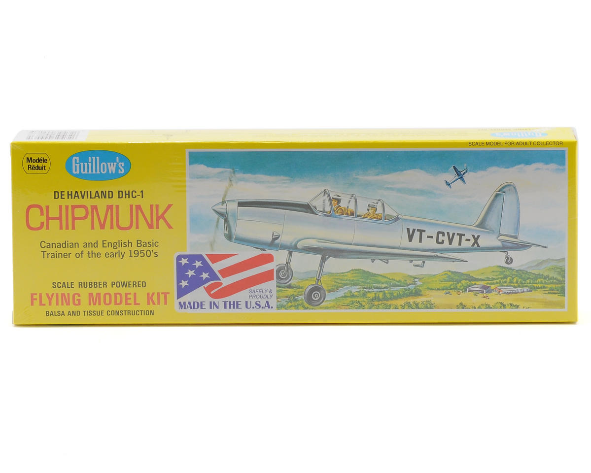 De Haviland DHC-1 Chipmunk Rubber Powered Flying Model Kit by Guillow