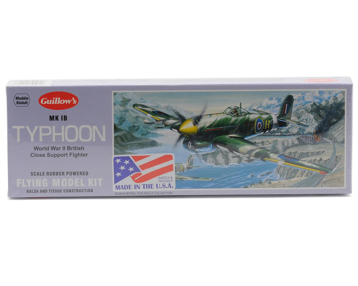 MK 1B Typhoon Rubber Powered Flying Model Kit by Guillow