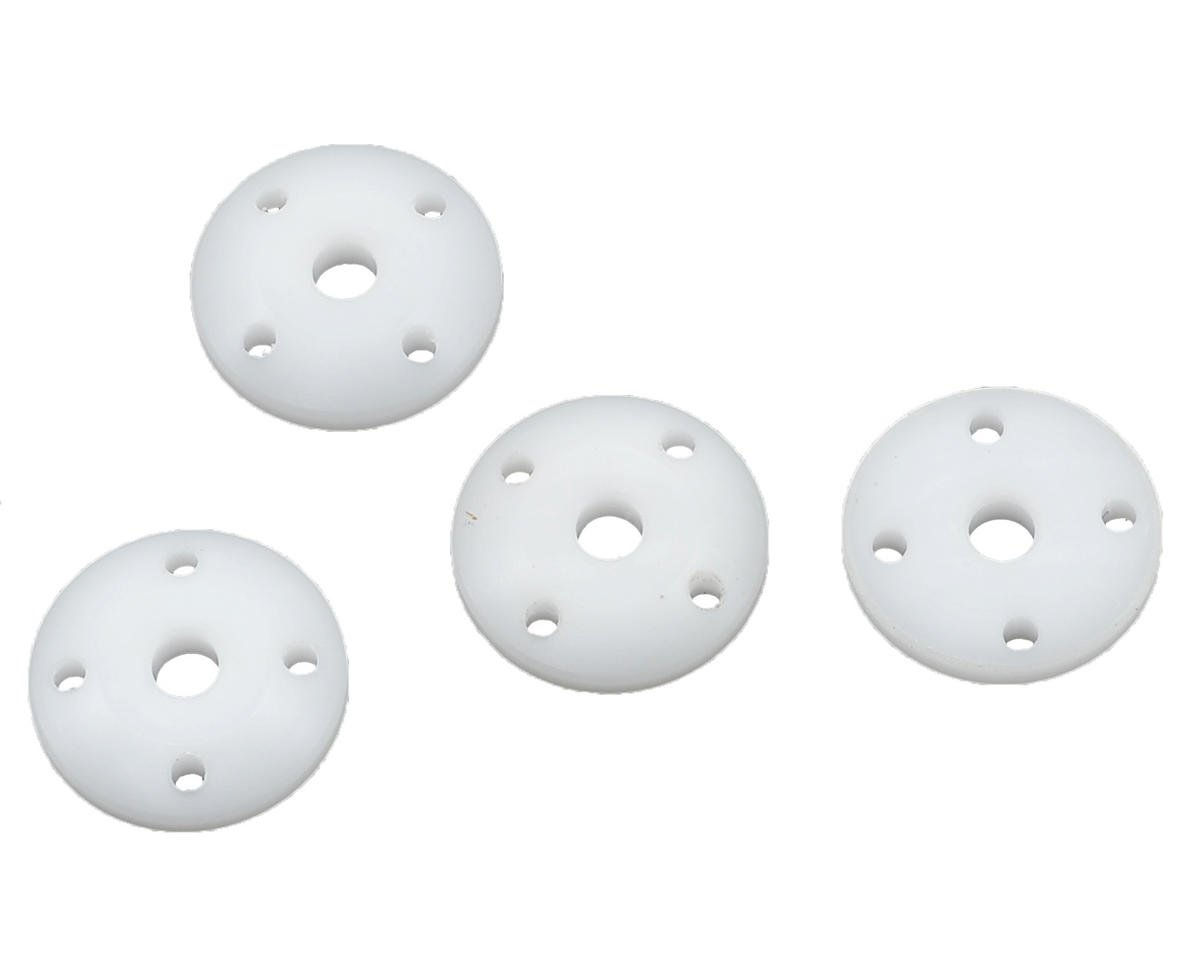 Hobby Pro Machined Tapered Shock Pistons (White) (4) (1.4mm x 4 Hole)