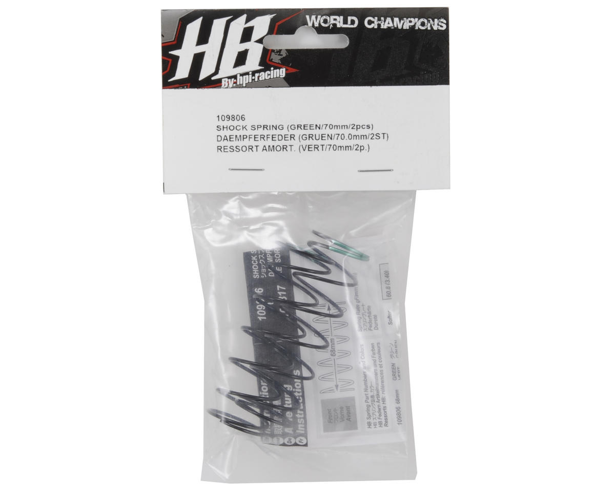HB Racing 68mm Big Bore Shock Spring (Green) (2) (60.8gF)