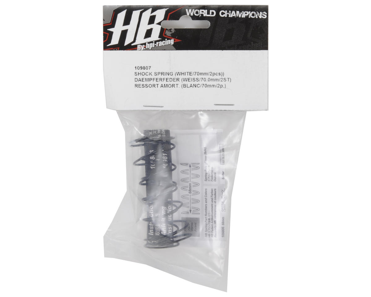 HB Racing 68mm Big Bore Shock Spring (White) (2) (64.6gF)