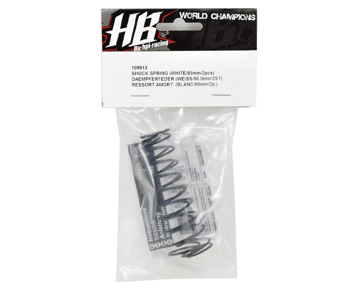 83mm Big Bore Shock Spring (White) (2) (57.9gF) by HB Racing