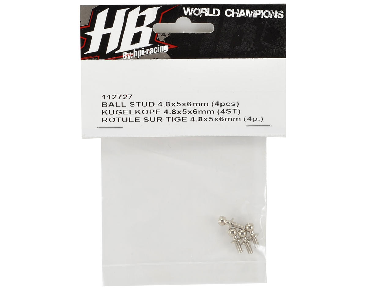 Image 2 for HB Racing 4.8x5x6mm Ball Stud (4)
