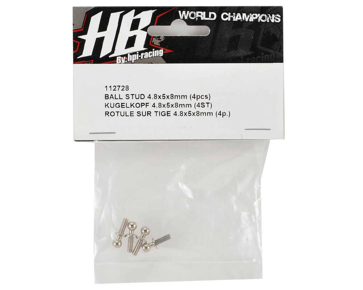 HB Racing 4.8x5x8mm Ball Stud (4)