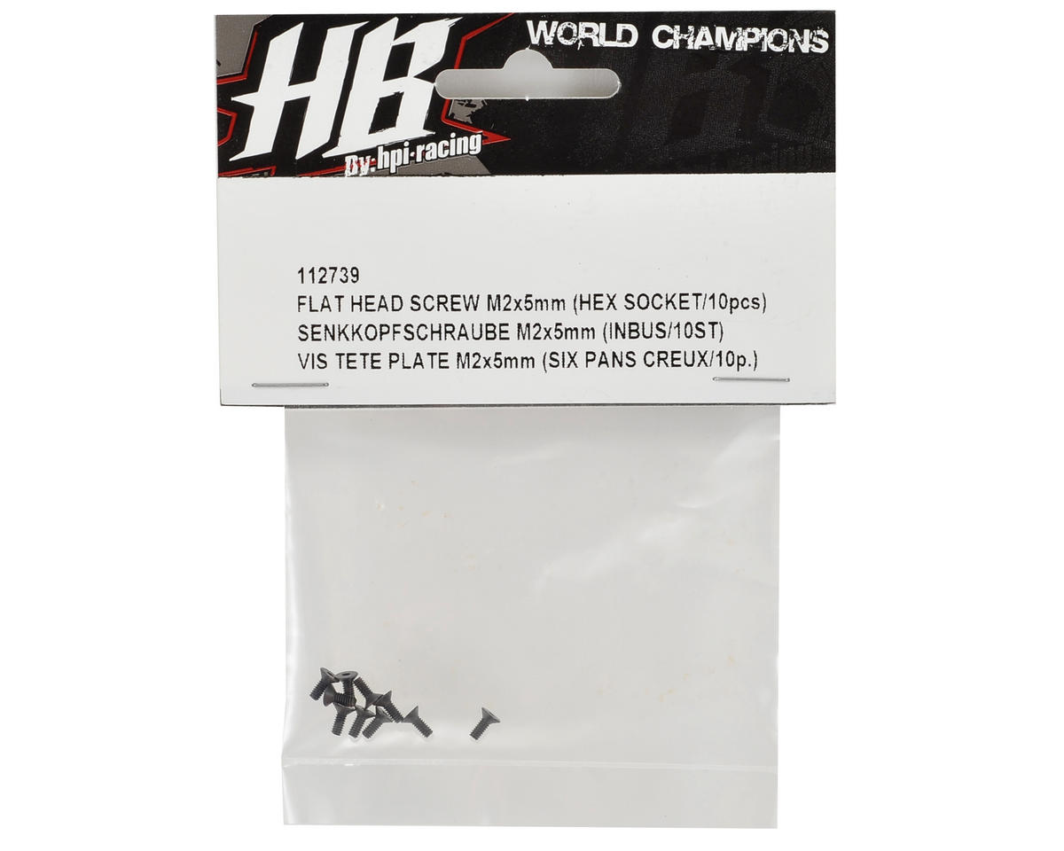 HB Racing 2x5mm Flat Head Hex Screw (10)
