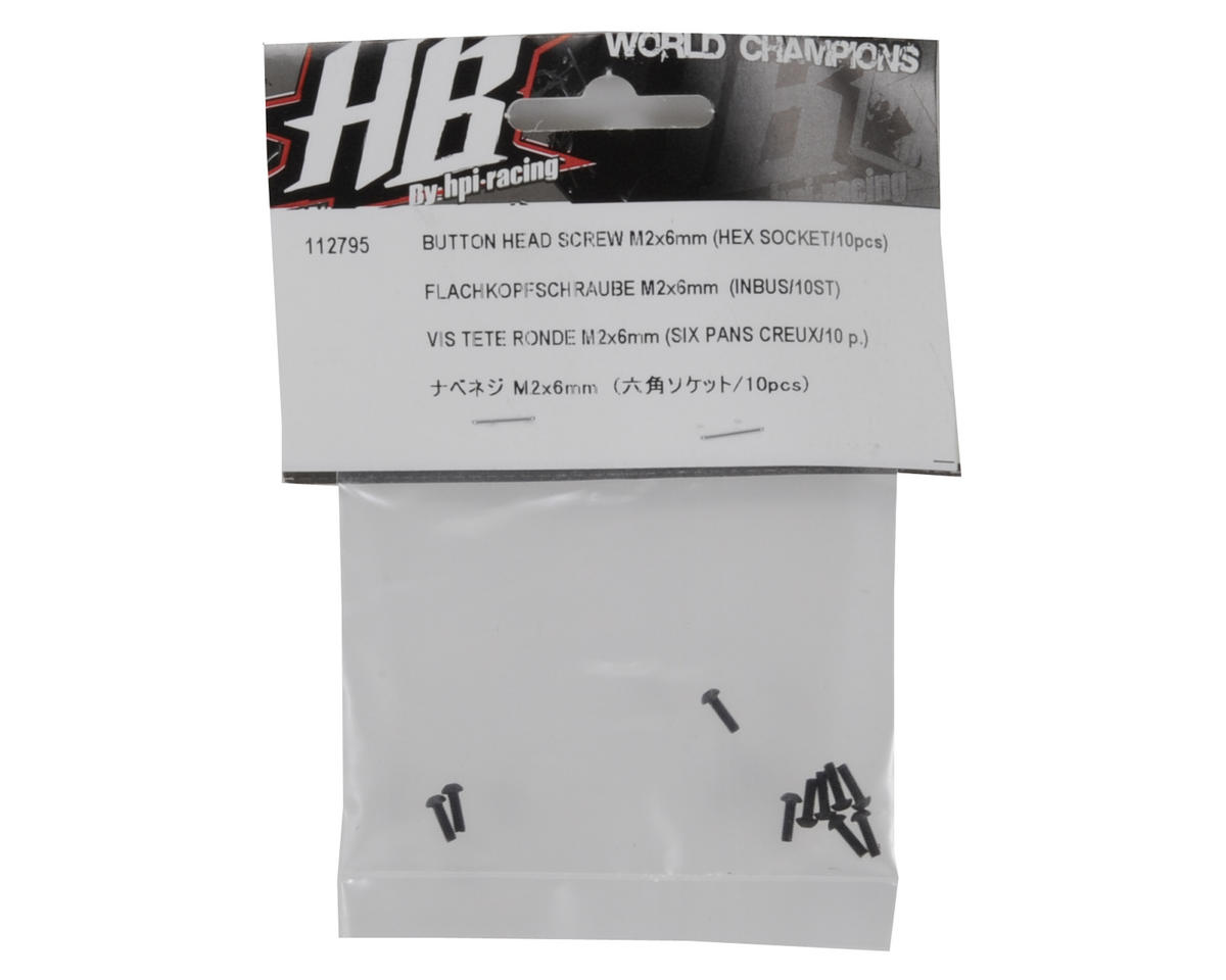 HB Racing 2x6mm Button Head Hex Screw (10)